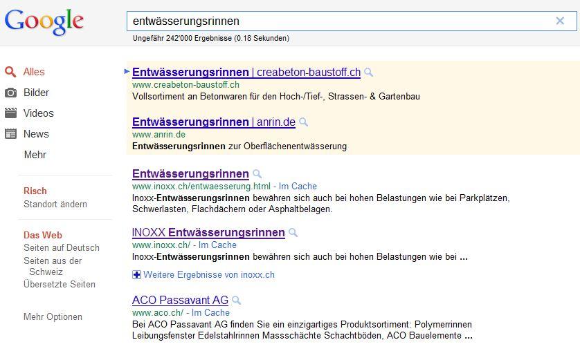 Umsatz verdoppelt - Google Suche Entwässerungsrinnen