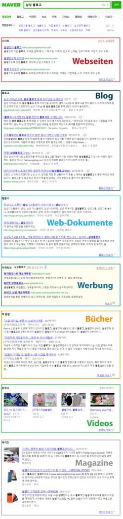 Naver Suchresultate 1. Hälfte