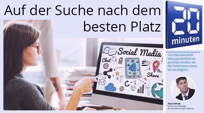 Worldsites Key-Account-Manager Jürg Schmutz gibt seine langjährige Online-Marketing-Erfahrung in der 20 Minuten weiter.